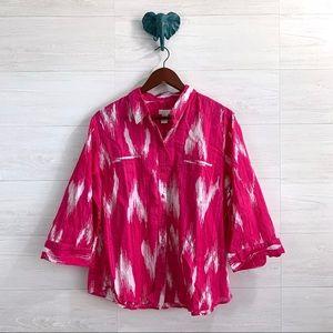 Chicos SZ 3 US XL Pink Ikat Lightweight Blouse